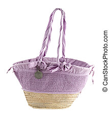 Lilac basket tote - Basket tote with tied lilac fabric,...