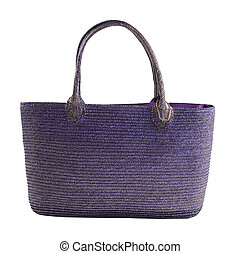 Purple metallic basket tote, isolated on white. Clipping...