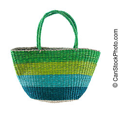 Striped green and blue basket tote, isolated on white...