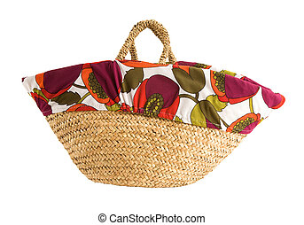 Floral cover basket tote, isolated on white Clipping path...
