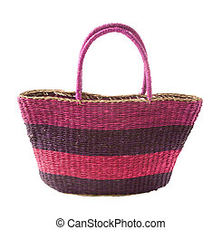 Striped purple mauve basket tote, isolated on white...