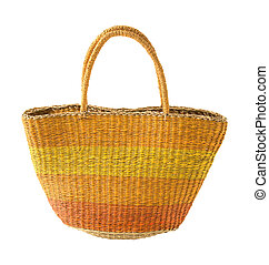 Striped yellow orange basket tote, isolated on white...