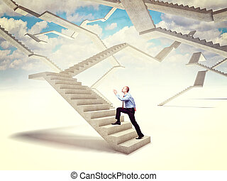 future stair - man go up on 3d concrete stair