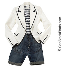 White blazer with striped t shirt and denim shorts - Fashion...
