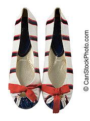 Sailor ballerinas with red bow - Sailor striped ballerinas...