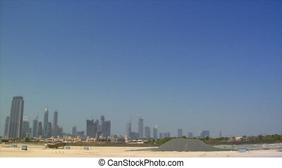wideangle pan dubai skyline