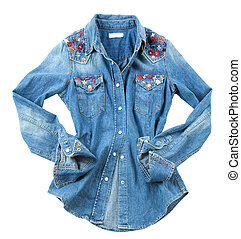 Denim embroidered shirt - Denim flowers embroidered shirt...