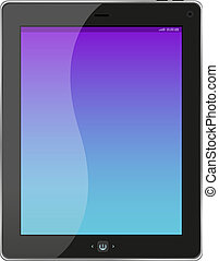 Touchscreen tablet pc with blue screen