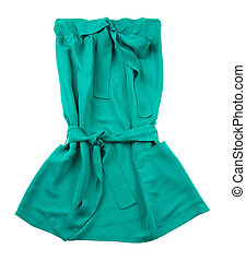 Green strapless belted pocketed dress with big bow isolated...