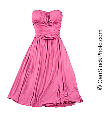 Pink evase strapless dress isolated on white background....