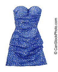 Puffed strapless pebbled blue dress isolated on white...