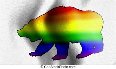 rainbow bear waving flag