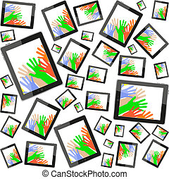 Tablet pc with hand on screen seamless pattern