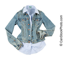 Denim jacket with striped shirt - Fashion composition of...