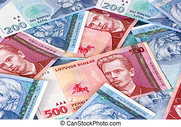 Banknotes - Lithuanian currency background. Close-up image...