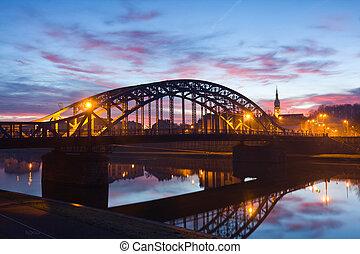 Pilsudzki bridge in the early morning, Krakow, Poland