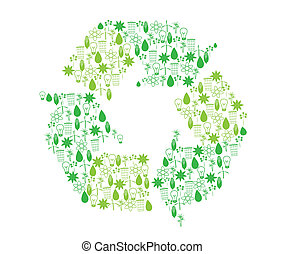 Recycling icons - Set of icons related to bioenergy in form...