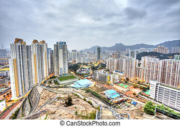 Hong, kong, centro cidade, surreal, tom