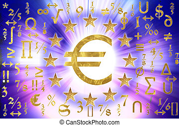European flag  - A European flag with mathematical symbols