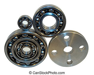 Flange and four bearings of the different size from...
