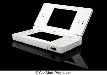 Portable Games Console on Black - Open - An isolated to...