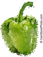 Green sweet pepper of blots vector isolated