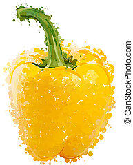Yellow sweet peppers of blots vector  isolated