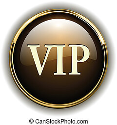 VIP badge gold metallic, vector illustration
