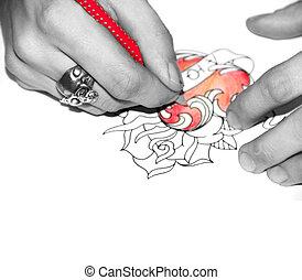 tatuagem, artista, desenho, Esboço