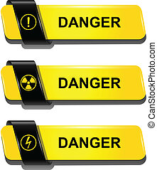 Danger buttons, signs vector set