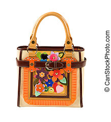 Leather artisan flowers purse