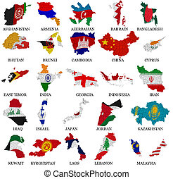 Asia countries flag maps Part 1 - Asia countries From A to M...