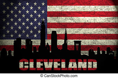 View of Cleveland City on the Grunge American Flag
