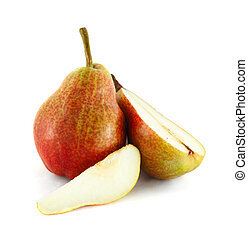 Cutted pears - Cutted colorful pears isolated on white...