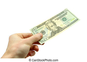 money - Hand hold 20 bill on white background