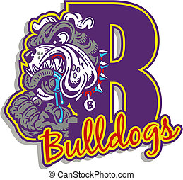 mean bulldog with logo