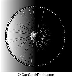 Bike wheel on abstract background