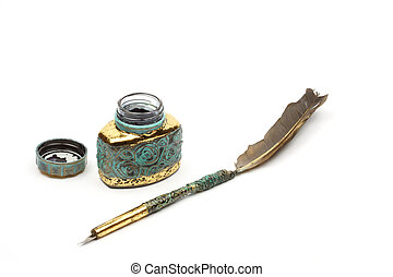 quill and inkwell - Vintage feather quill and inkwell over...