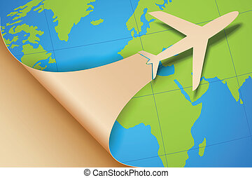 Airplane Taking off on Earth Map - illustration of airplane...