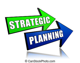 strategic planning in arrows - strategic planning - text in...