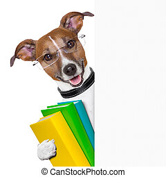 school dog banner - school dog with books and banner