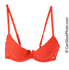 Red lace bra with a bow, isolated on white background....