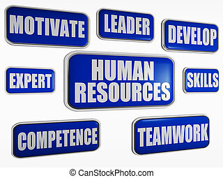 human resources - blue business concept - human resources -...