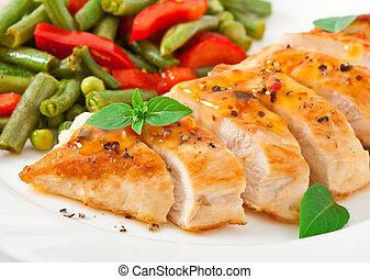 galinha, peito, legumes