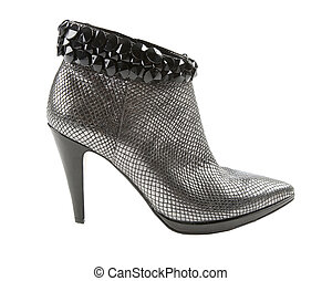 Metal heels short boot with crystals - Silver metal heel...