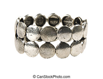 Raw metal silver bracelet, isolated on white background....
