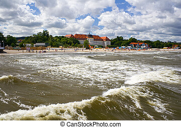 View from the pier on the architecture of Sopot, Poland