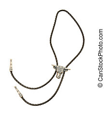 Bulls head bolo tie isolated on white background. Clipping...