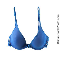 Light blue cute delicate lacework bra isolated on white...