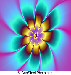 Golden Daisy - Digital abstract fractal image with a daisy...